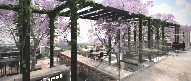 Flames will boast an expansive terrace and sunset views.