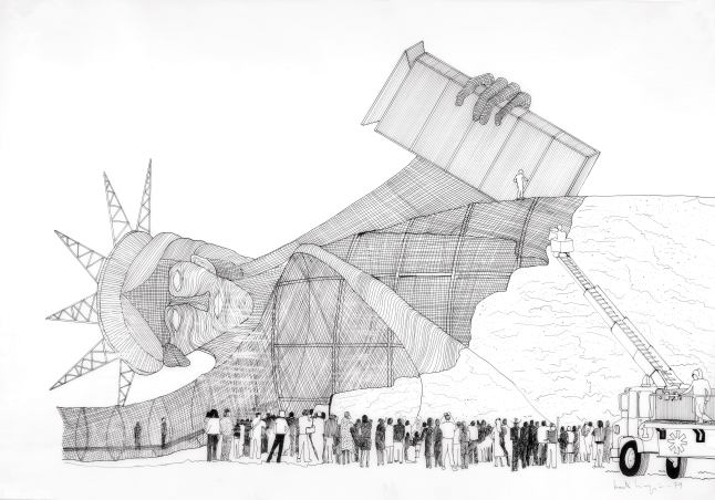 Marta Minujín Statue of Liberty Laid Down I (with Public Watching) (Estatua de la Libertad acostada I [con público que la mira]), 1979 Ink on paper vellum, 31 1/2 x 43 1/2 inches (80 x 110.5 cm) Solomon R. Guggenheim Museum, New York, Guggenheim UBS MAP Purchase Fund Courtesy the artist and Henrique Faria Fine Art, New York. Photo: Glenn Castellano