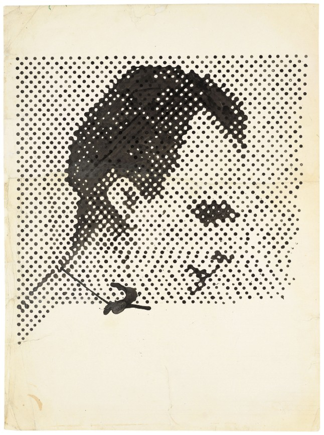 Alibis: Sigmar Polke 1963-2010 Sigmar Polke, German, 1941–2010 Raster Drawing (Portrait of Lee Harvey Oswald) (Rasterzeichnung (Porträt Lee Harvey Oswald)) 1963 Poster paint and pencil on paper 37 5/16 × 27 1/2″ (94.8 × 69.8 cm) Private Collection Photo: Wolfgang Morell, Bonn © 2014 Estate of Sigmar Polke/ Artists Rights Society (ARS), New York / VG Bild-Kunst, Bonn
