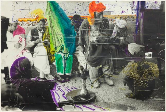 Sigmar Polke, German, 1941–2010 Untitled (Quetta, Pakistan) 1974/1978.  Gelatin silver print with applied color 22 3/8 × 33 13/16″ (56.9 × 85.9 cm) Glenstone Photo: Alex Jamison © 2014 Estate of Sigmar Polke/ Artists Rights Society (ARS), New York / VG Bild-Kunst, Bonn