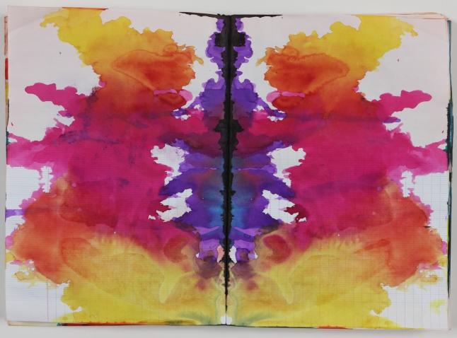 Alibis: Sigmar Polke 1963-2010 Sigmar Polke, German, 1941–2010 Untitled (Rorschach) (Ohne Titel (Rorschach)) c. 1999 Colored ink in bound notebook, 192 pages, each: 11 5⁄8 x 8 1⁄16″ (29.5 x 20.5 cm) Private Collection Photo: Alistair Overbruck © 2014 Estate of Sigmar Polke/ Artists Rights Society (ARS), New York / VG Bild-Kunst, Bonn
