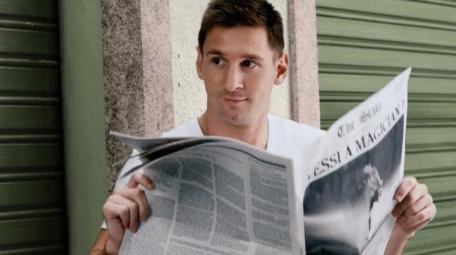 """Pepsi premiered its new global commercial and interactive film, """"NOW IS WHAT YOU MAKE IT,"""" as part of the 2014 Pepsi Football campaign. The creative features the #FutbolNow Pepsi superstar squad, including Leo Messi, pictured here in the creative.  (PRNewsFoto/PepsiCo)"""