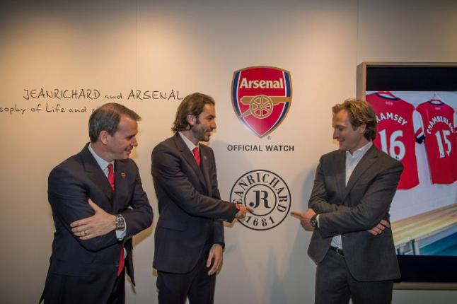 JEANRICHARD Managing Director Bruno Grande, Arsenal Legend Robert Pires and the club's CCO Tom Fox (from left).  (PRNewsFoto/JEANRICHARD)