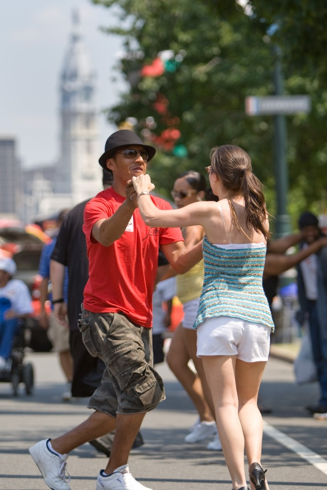 Along with some of the top names in music, hundreds of aspiring salsa dancers dance the day away on the Benjamin Franklin Parkway for Party on the Parkway, one of many events taking place during Wawa Welcome America!, Philadelphia's multi-day Fourth of July celebration.