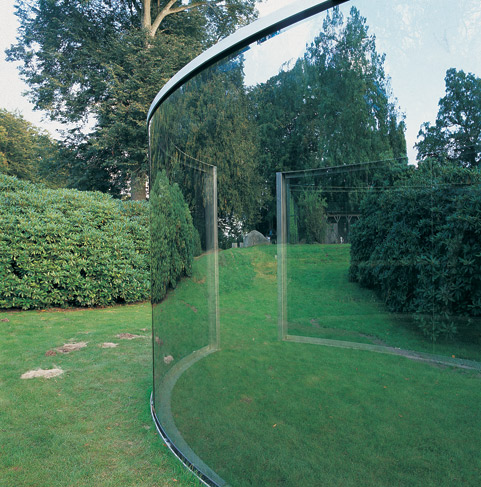 Dan Graham (b. 1942, Urbana, Illinois). Two Different Anamorphic Surfaces, 2000. Installation view from Wanås Foundation, Knislinge, Sweden