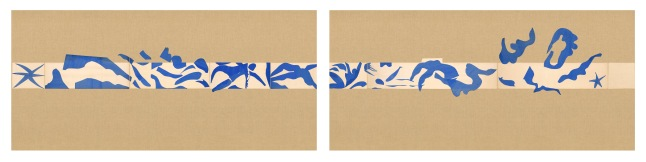 """Henri Matisse (French, 1869-1954). The Swimming Pool (La Piscine), late summer 1952. Maquette for ceramic (realized 1999 and 2005). Gouache on paper, cut and pasted, on painted paper. Overall 73 x 647"""" (185.4 x 1653.3 cm). Installed as nine panels in two parts on burlap-covered walls 136"""" (345.4 cm) high. Frieze installed at a height of 65"""" (165 cm). The Museum of Modern Art, New York. Mrs Bernard F. Gimbel Fund, 1975 © 2014 Succession H. Matisse, Paris / Artists Rights Society (ARS), New York"""