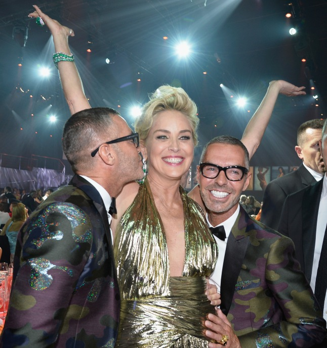 CAP D'ANTIBES, FRANCE - MAY 22:  Dean Caten, Sharon Stone and Dan Caten attend amfAR's 21st Cinema Against AIDS Gala Presented By WORLDVIEW, BOLD FILMS, And BVLGARI at Hotel du Cap-Eden-Roc on May 22, 2014 in Cap d'Antibes, France.  (Photo by Pascal Le Segretain/amfAR14/WireImage)