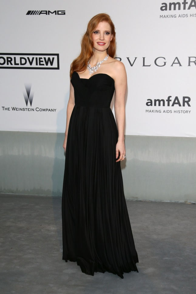 CAP D'ANTIBES, FRANCE - MAY 22:  Jessica Chastain attends amfAR's 21st Cinema Against AIDS Gala Presented By WORLDVIEW, BOLD FILMS, And BVLGARI at Hotel du Cap-Eden-Roc on May 22, 2014 in Cap d'Antibes, France.  (Photo by Vittorio Zunino Celotto/Getty Images)