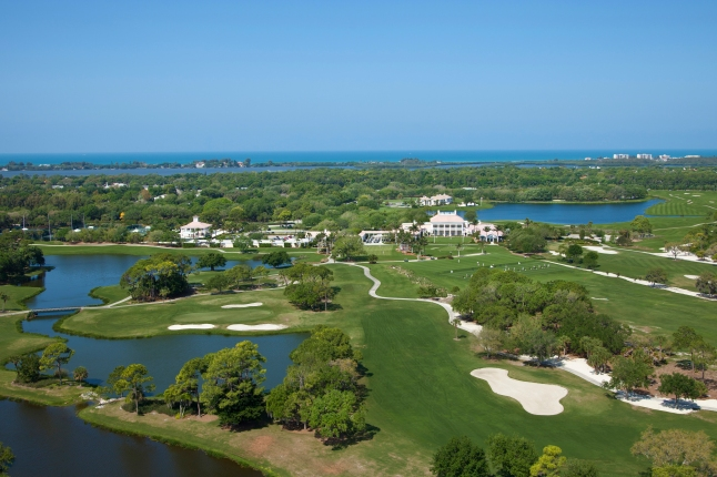 Wide Aerial Shot of The Oaks Club  Clubhouse (Courtesy of Allison Moore - Ward Group PR)