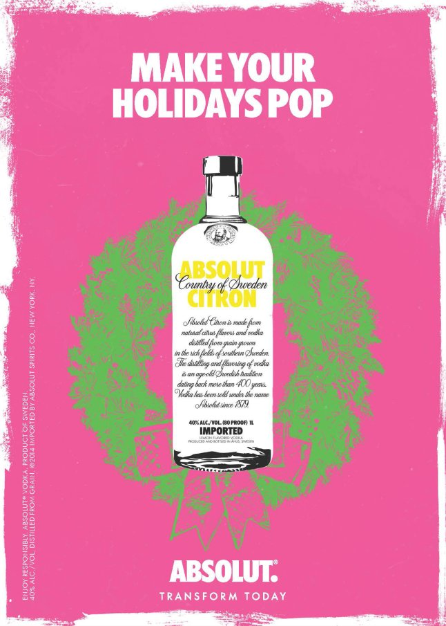 "By transforming Warhol's artwork into a three-dimensional bottle, Absolut allows anyone to ""Make the Holidays Pop"" with their very own Warhol."