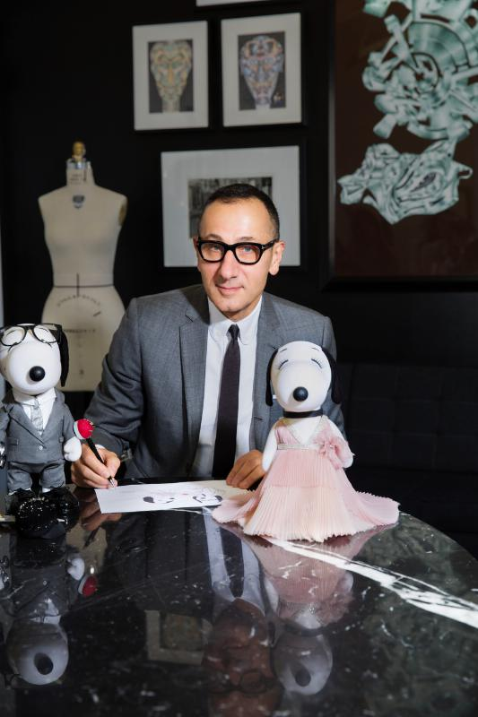 DESIGNER GILLES MENDEL CREATES LOOKS FOR SNOOPY AND HIS SISTER BELLE IN A NEW EXHIBIT AT THE NEW MUSEUM'S SKY ROOM THIS NEW YORK FASHION WEEK (PRNewsFoto/Peanuts Worldwide)