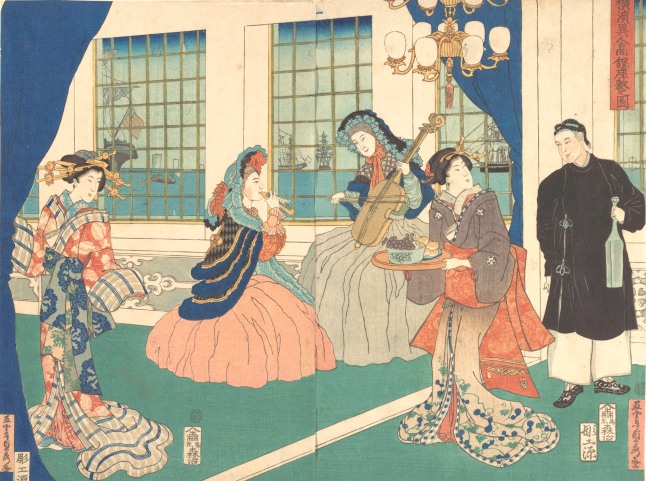 Utagawa (Gountei) Sadahide, Japanese, 1807–1878/79 Drawing Room of a Foreign Business Establishment in Yokohama Japan, Edo period (1615–1868), 1861, 9th month Center and right sheets of a triptych of polychrome woodblock prints Ink and color on paper, O-ban Gift of Lincoln Kirstein, 1959