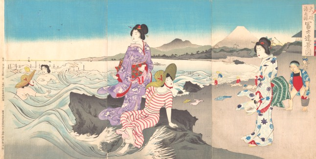 Utagawa Kokunimasa, Japanese, 1874–1944 Swimming at Ōiso, Distant Views of Mount Fuji Japan, Meiji period (1868–1912), 1893 Triptych of polychrome woodblock prints; ink and color on paper Oban triptych: 14 1/8 x 25 1/2 in. (35.9 x 64.8 cm) Gift of Lincoln Kirstein, 1960
