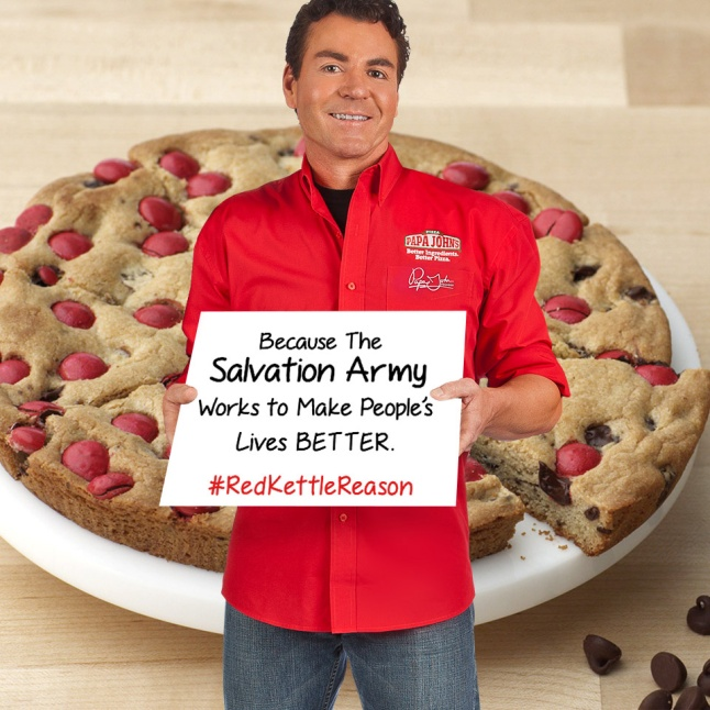 Papa John's founder John Schnatter shares his #RedKettleReason. From now until December 28, Papa John's is offering a Red Kettle Cookie, a unique holiday twist to their popular treat, the Chocolate Chip Cookie. A portion of the proceeds from the cookie will be used to support The Salvation Army's funding.