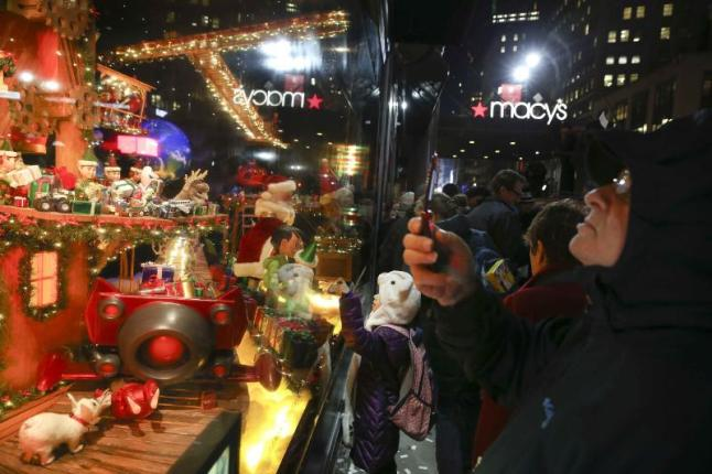 "Macy's Herald Square Unveils its 2014 Christmas Window Spectacular--""Santa's Journey to the Stars."" John Minchillo/AP Images for Macy's Inc. (PRNewsFoto/Macy's)"