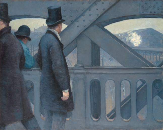 Gustave Caillebotte, On the Pont de l'Europe, 1876-1877, oil on canvas, 105.7 × 130.8 cm (41 5/8 × 51 1/2 in.), Kimbell Art Museum, Fort Worth, Texas