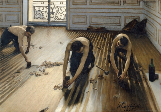Gustave Caillebotte, The Floor Scrapers, 1875, oil on canvas, 102 × 147 cm (40 3/16 × 57 7/8 in.), Musée d'Orsay, Paris, Gift of Caillebotte's heirs through the intermediary of Auguste Renoir, 1894