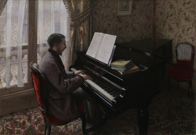 Gustave Caillebotte, Young Man Playing the Piano, 1876, oil on canvas, 81 × 116 cm (31 7/8 × 45 11/16 in.), Bridgestone Museum of Art, Ishibashi Foundation, Tokyo