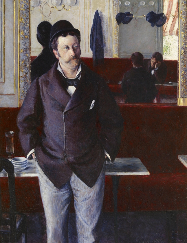 Gustave Caillebotte, At a Café, 1880, oil on canvas, 156 × 114 cm (61 7/16 × 44 7/8 in.) Musée d'Orsay, Paris, on deposit at musée des Beaux-arts de Rouen