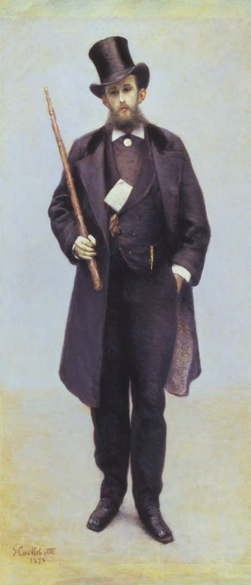 Gustave Caillebotte, Portrait of Paul Hugot, 1878, oil on canvas, 228.6 × 101.6 cm (90 × 40 in.), The Lewis Collection