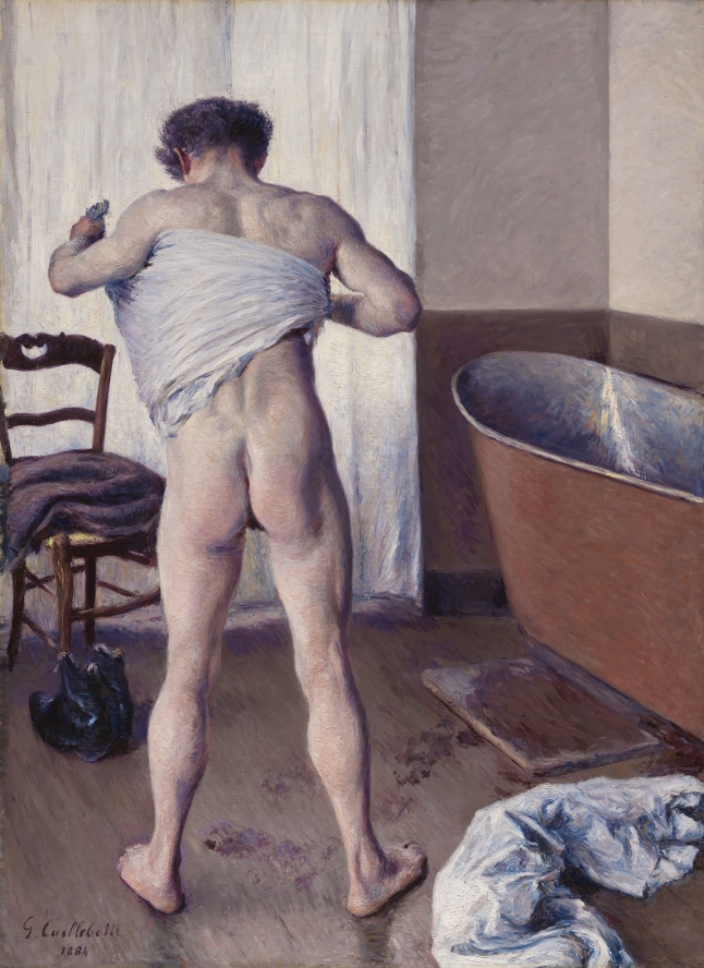 Gustave Caillebotte, Man at his Bath, 1884, oil on canvas, 144.8 × 114.3 cm (57 × 45 in.) Museum of Fine Arts, Boston, Museum purchase with funds by exchange from an Anonymous gift, Bequest of William A. Coolidge, Juliana Cheney Edwards Collection, and from the Charles H. Bayley Picture and Painting Fund, Edward Jackson Holmes Fund, Fanny P. Mason Fund in memory of Alice Thevin, Arthur Gordon Tompkins Fund, Gift of Mrs. Samuel Parkman Oliver-Eliza R. Oliver Fund, Sophie F. Friedman Fund, Robert M. Rosenberg Family Fund, and funds donated in honor of George T. M. Shackelford, Chair, Art of Europe, and Arthur K. Solomon Curator of Modern Art, 1996-2011