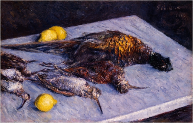 Gustave Caillebotte, Game Birds and Lemons, 1883, oil on canvas, 50.8 × 81.3 cm (20 × 32 in.), Michele and Donald D'Amour Museum of Fine Arts, Springfield, Massachusetts, The James Philip Gray Collection