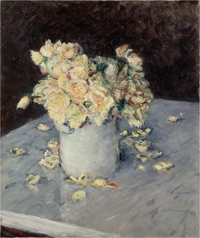 Gustave Caillebotte, Yellow Roses in a Vase, 1882, oil on canvas, 53.34 × 45.72 cm (21 × 18 in.), Dallas Museum of Art, The Eugene and Margaret McDermott Art Fund, Inc., in honor of Janet Kendall Forsythe