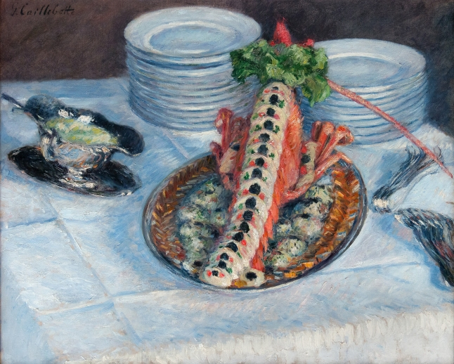 Gustave Caillebotte, Still Life with Crayfish, 1880-1882, oil on canvas, 58 × 72 cm (22 13/16 × 28 3/8 in.. Private Collection, Europe