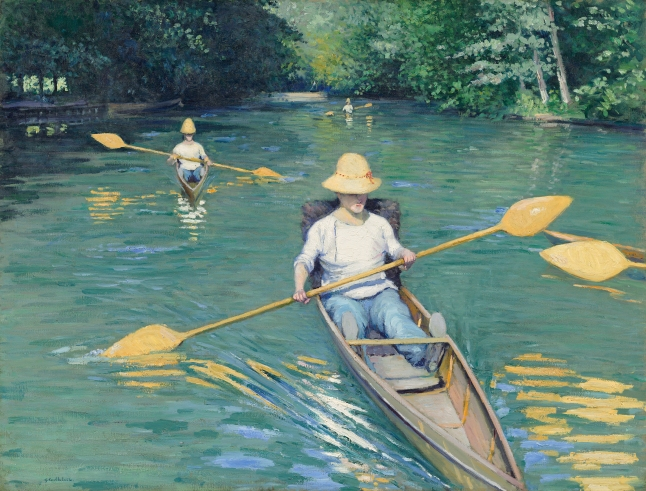 Gustave Caillebotte, Skiffs, 1877, oil on canvas, 88.9 x 116.2 cm (35 x 45 3/4 in.), National Gallery of Art, Washington, Collection of Mr. and Mrs. Paul Mellon
