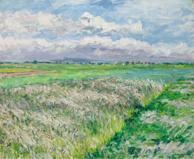 Gustave Caillebotte, The Fields, a Plain in Gennevilliers, Study in Yellow and Green, 1884 oil on canvas, 54 × 65 cm (21 1/4 × 25 9/16 in.), Collection of Frederic C. Hamilton, Bequest to the Denver Art Museum