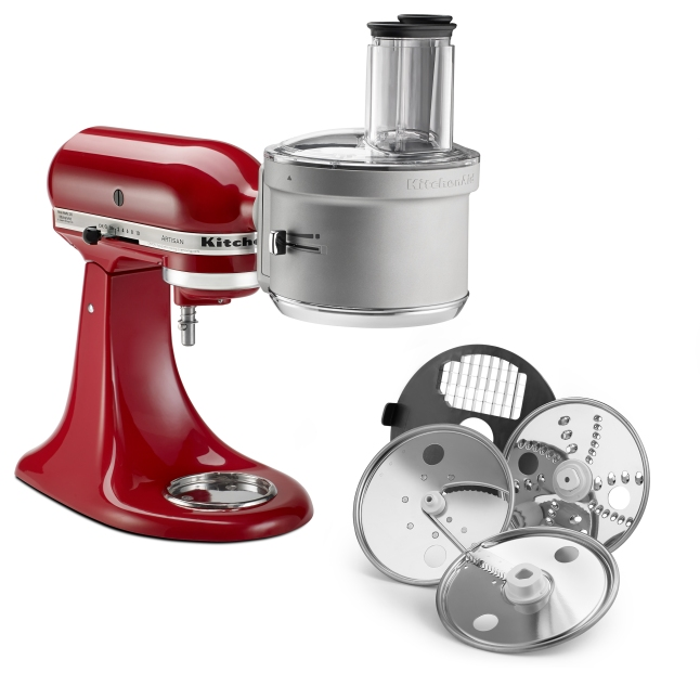 Base and premium food processor attachments feature ExactSlice™ System and 2-in-1 wide mouth feed tube. Base model is available for $179.99; premium model with dicing kit is available for $249.99.