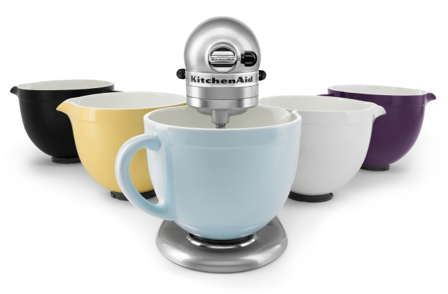 The 5-quart ceramic bowls are dishwasher and microwave safe. The bowls are available in Glacier, Majestic Yellow, Onyx Black, Purple and White Chocolate for $79.99.