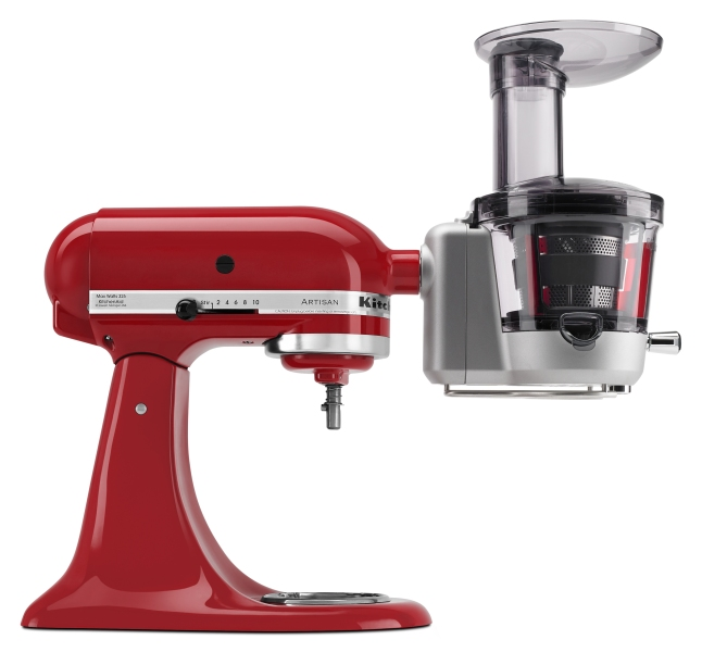 The juicer attachment's stainless steel blade first pre-slices foods, then processes them at a low speed. It includes three pulp screens to customize juices, and is available for $249.99.