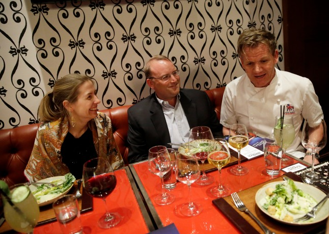 Gordon Ramsay chats with guests at A Scot's Tale Master Series Dinner at Gordon Ramsay Pub & Grill at Caesars Palace during Vegas Uncork'd 2014