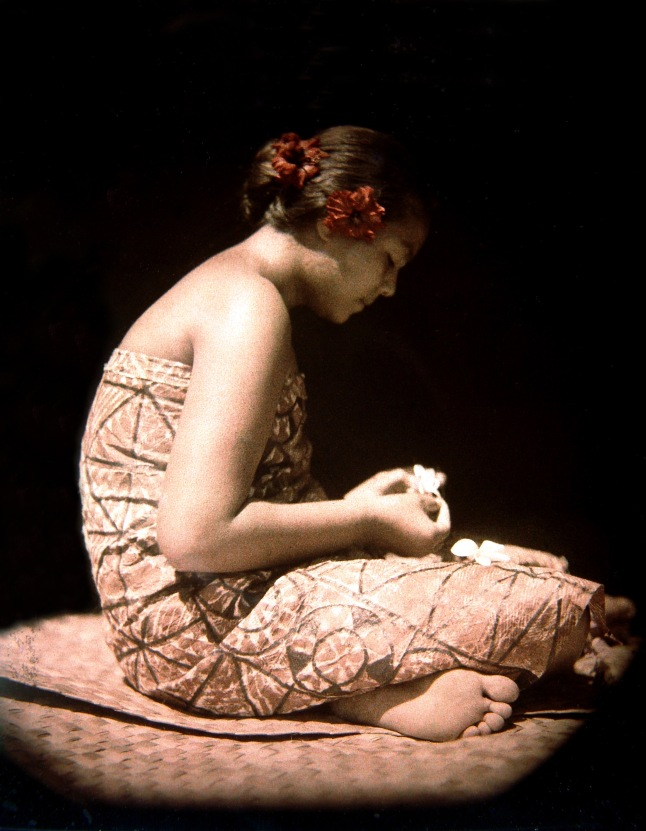 Actress Fa´angase (Fa´angase Su´a-Filo) in a color photograph by Frances Hubbard Flaherty taken in Samoa during production of the silent film classic Moana by Robert Flaherty, 1926. Moana with Sound by Monica and Robert Flaherty, 1926-2014, to be shown on Wednesday, January 17 at 7:00 p.m. at the National Archives, McGowan Theater. Image courtesy 2K Digital Restoration Moana with Sound, The Robert and Frances Flaherty Study Center