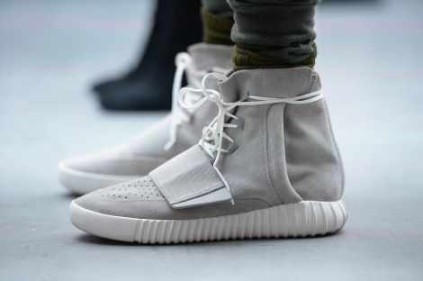 NEW YORK, NY - FEBRUARY 12: A close up shoe detail from the adidas Originals x Kanye West YEEZY SEASON 1 fashion show during New York Fashion Week Fall 2015 at Skylight Clarkson Sq on February 12, 2015 in New York City. (Photo by Kevin Mazur/Getty Images for adidas)