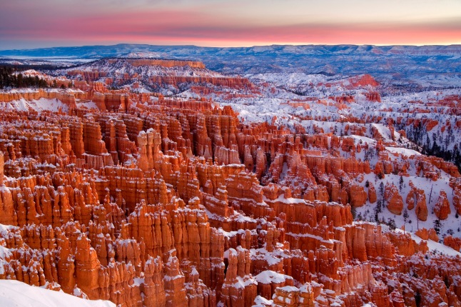 Winter hoodoos before sunrise at Bryce Canyon National Park.