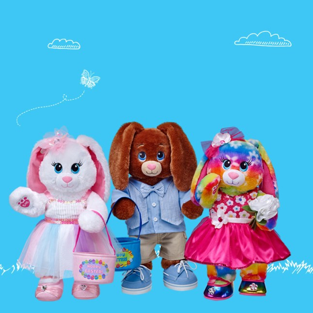 Build-A-Bear's 2015 Easter Collection features an assortment of customizable furry friends with unique personalization options, from sounds to accessories. Bright Blooms Bunny, Chocolate Bunny and Marshmallow Bunny are available fully accessorized or can be customized by gift givers. (PRNewsFoto/Build-A-Bear Workshop, Inc.)