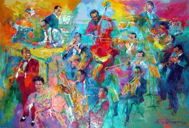 "Smithsonian Big Jazz Painting 2004: Smithsonian Announces $2.5 Million Jazz Endowment by LeRoy Neiman Foundation and Installation of Neiman's ""Big Band"" Painting (PRNewsFoto/Smithsonian's National Museum of)"