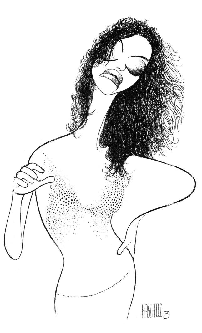 Sandra Bernhard in I'm Still Here...Damn It!, 1998 Ink on board Collection of the Al Hirschfeld Foundation © The Al Hirschfeld Foundation. www.AlHirschfeldFoundation.org
