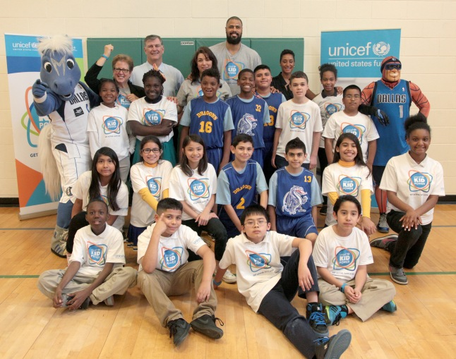 DALLAS, TX - MARCH 30:  Elementary school students getting active with (top L-R) president and CEO of the U.S Fund for UNICEF Caryl Stern, Mayor of Dallas Mike Rawlings, principal Linda Espericueta, UNICEF Ambassador Tyson Chandler, and Kimberly Chandler at an event celebrating UNICEF Kid Power at Esperanza Hope Medrano Elementary School on March 30, 2015 in Dallas, Texas.  (Photo by Peter Larsen/Getty Images for UNICEF)
