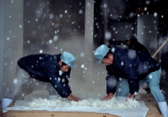 (Right) Head Brewmaster Yamamoto Toji has been crafting sake for 54 years. (Left) Chi-chan, 70 year old brewery worker and childhood friend of Head Brewmaster Yamamoto Toji