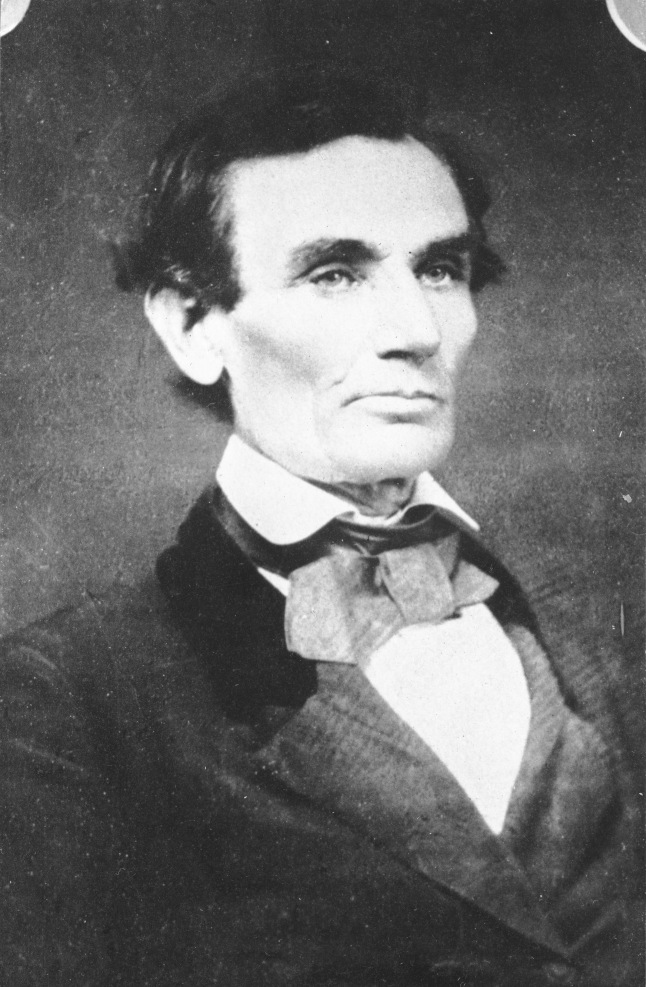 Samuel Alschuler, a Jewish photographer lent Lincoln his own velvet-trimmed coat for this photo taken in Urbana, Illinois, on April 25, 1858, just as Lincoln would begin his Senate campaign against Stephen Douglas. Lincoln would again sit for Alschuler two years later, after he was elected president.