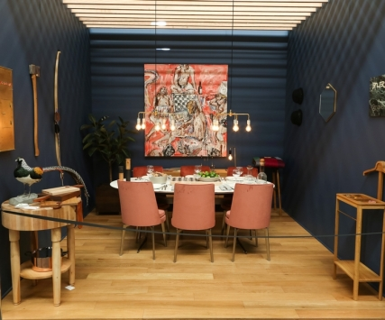 DIFFA's DINING BY DESIGN table viewing at Pier 92 at the Architectural Digest Home Design Show 2014: Flexform