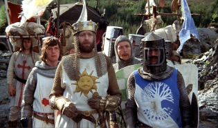 Monty Python and the Holy Grail, directed by Terry Gilliam and Terry Jones - Sir Galahad (Michael Palin) King Arthur (Graham Chapman) Sir Robin (Eric Idle) and Sir Bedevere (Terry Jones)