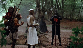 Monty Python and the Holy Grail, directed by Terry Gilliam and Terry Jones - Patsy (Terry Gilliam) King Arthur (Graham Chapman) and The Black Knight (John Cleese)