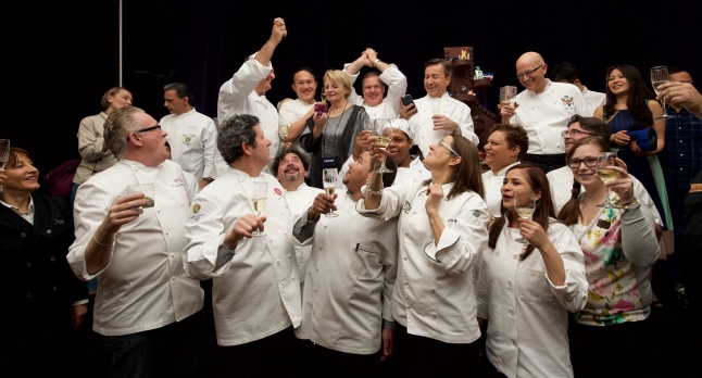 IACP Conference - Jacques Pepin 80th birthday tribute. Chefs toast Jacques Pepin who joined via Skype.