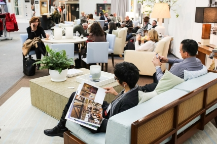 Relaxing in the Foley&Cox Lounge at the 2014 Architectural Digest Home Design Show