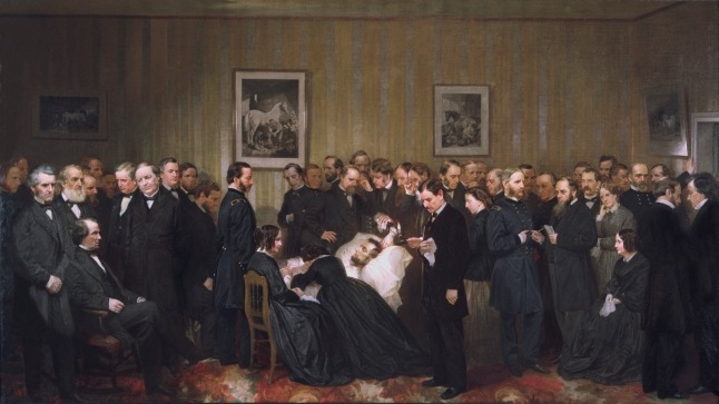Painting titled: The Last Hours of Abraham Lincoln, by Alonzo Chappel, 1868. Oil on canvas. This painting depicts President Lincoln on his deathbed surrounded by a large group of people including Robert Todd Lincoln, Mary Todd Lincoln, Clara Harris, Henry Rathbone, Edwin Stanton, and Andrew Johnson. Artist and engraver John B. Bachelder of Washington, D.C., arranged for everyone who visited the dying president to have their photographs taken at Mathew Brady's studio. From those images, Bachelder created a design for a monumental painting and hired Alonzo Chappel to complete the canvas: A Jewish doctor at Lincoln's deathbed: Alonzo Chappel's famous 1867 painting depicts the ten-by-fifteen-foot room in which Lincoln lay dying as large enough to be filled with almost as many doctors who later claimed to be there. Of the nine actually in attendance, Dr. Charles Liebermann, a Russian-born Jewish ophthalmologist and a leading Washington physician, is prominently featured here, gazing intently at the president. Lierbermann had attended at Lincoln's deathbed throughout the nine-hour coma.