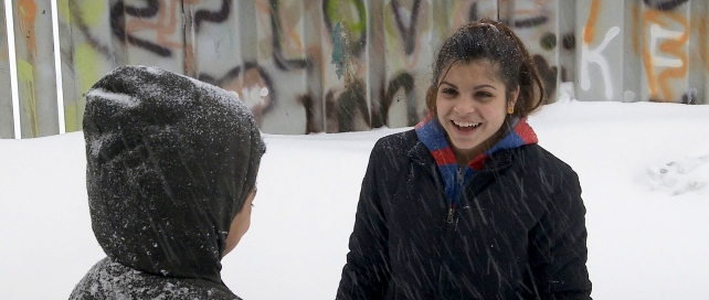 ANDREEA PLAYING WITH HER BROTHER TOTO IN SNOW